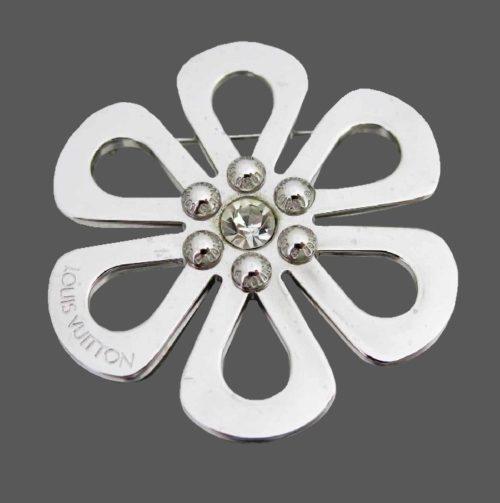 Silver flower rhinestone brooch