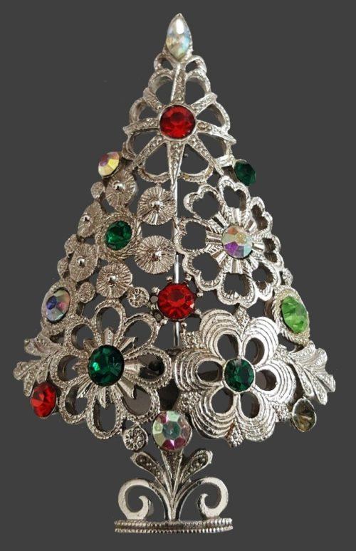 Silver tone Christmas tree brooch