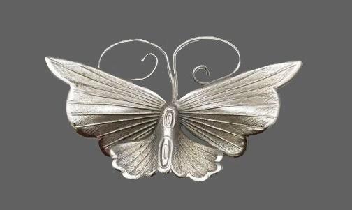Silver tone butterfly brooch