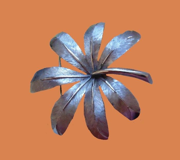 Silver tone leaf brooch