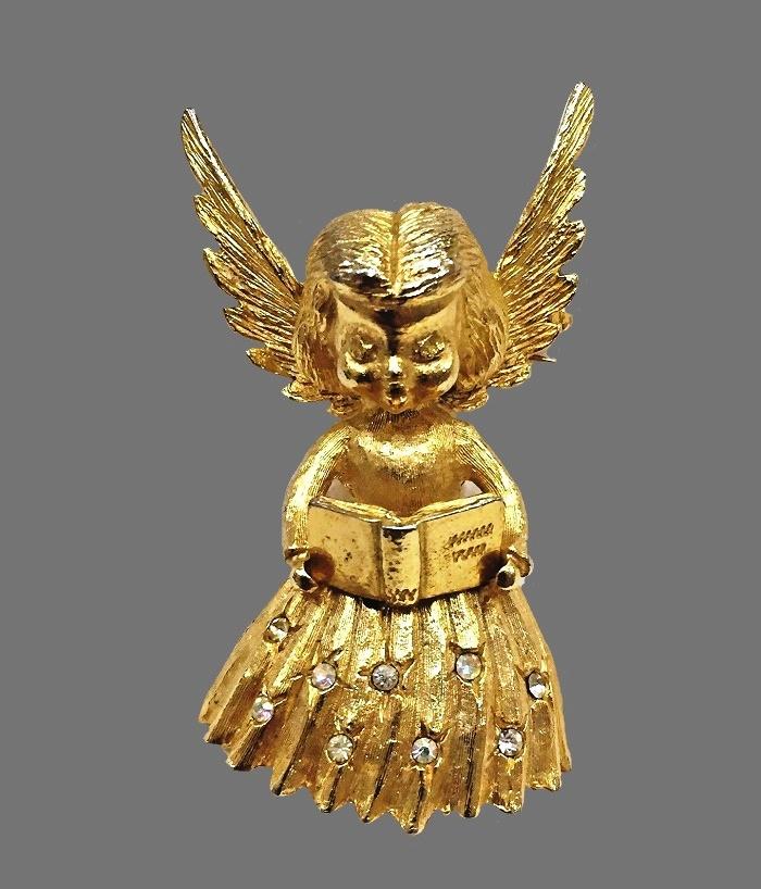 Singing Angel Christmas brooch