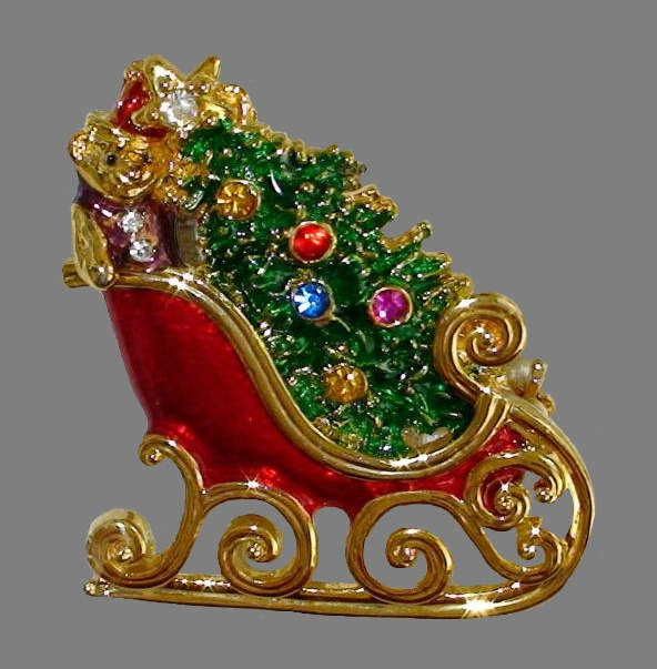 Sledge with Christmas presents, vintage brooch. Enamel, rhinestones, jewelry alloy