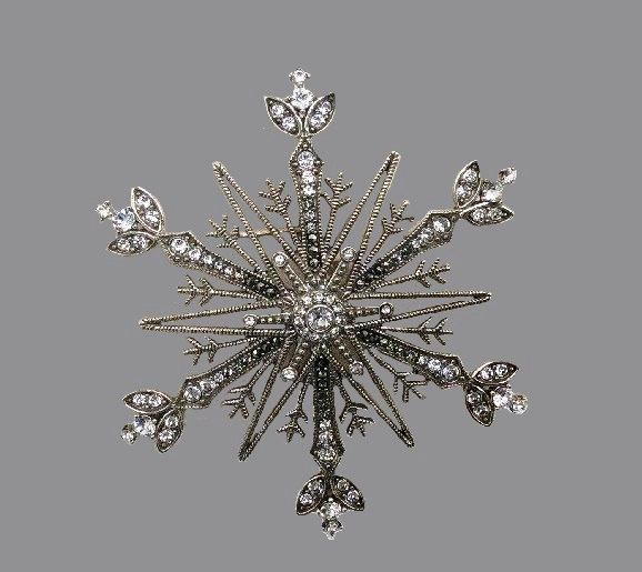 Snowflake pin. Marcasite Crystal and Sterling silver
