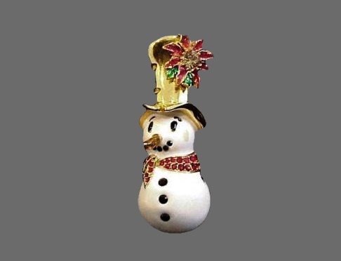 Snowman enameled brooch