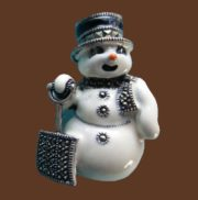Snowman with shovel, Christmas theme enameled brooch-pin