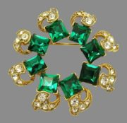 Square green and clear crystal rhinestones, 18k Gold Plated