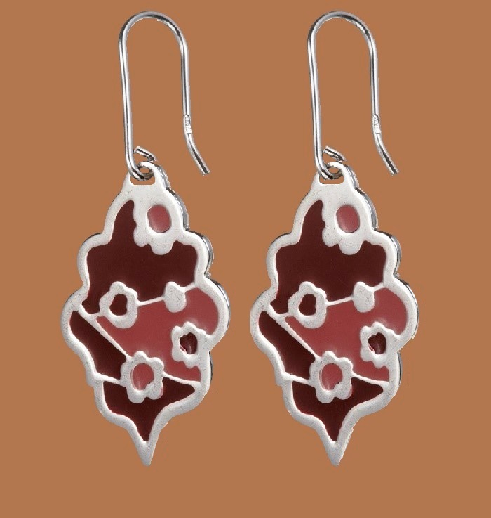 Sterling silver earrings. Red and pink enamel