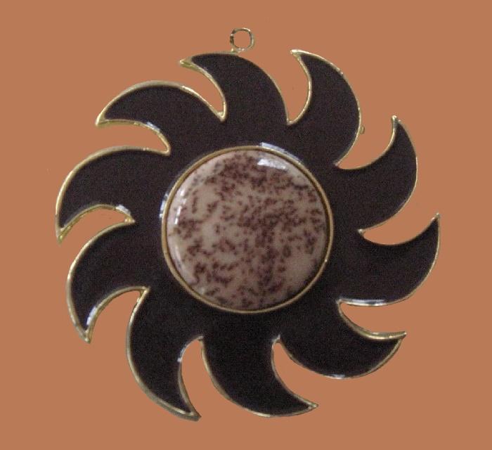 Sun pendant. Marble like stone, enamel