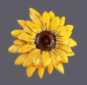 Sunflower brooch. Jewelry alloy, enamel. 6 cm