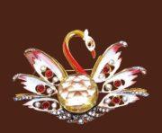 Swan brooch. Gold tone, enamel, citrine, clear crystals. 1940s