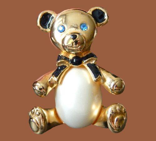 Teddy bear brooch-pendant, vintage by Carolee