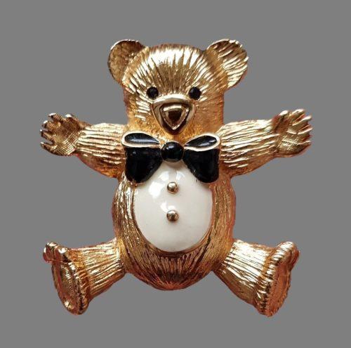 Teddy bear vintage brooch. Jewelry alloy, crystals, enamel. 5 cm