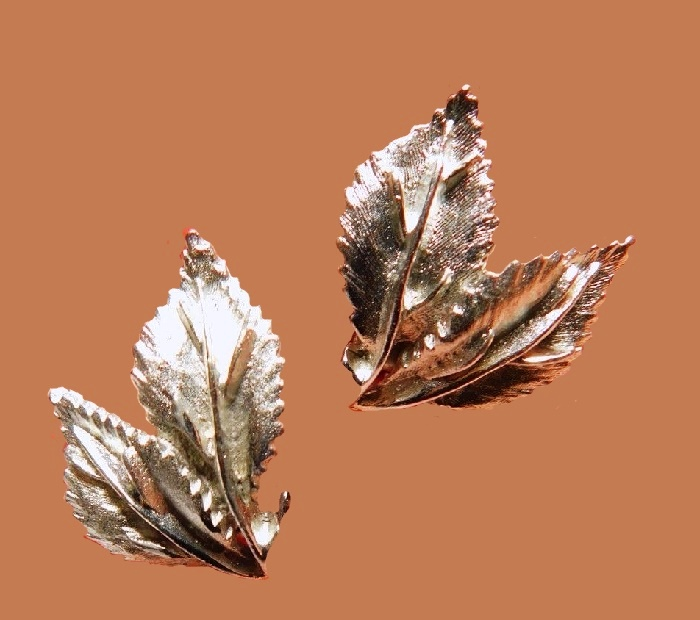 Textured silver tone metal double leaf earrings
