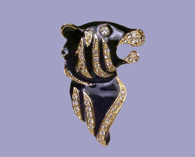 Tiger. Black enamel, gold tone metal brooch