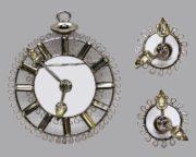 Timepiece Face Brooch Earrings Set