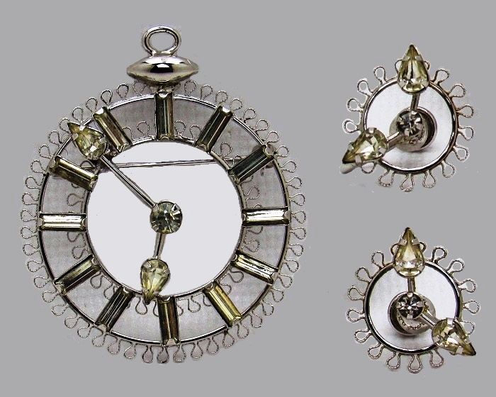Timepiece Face Brooch Earrings Set