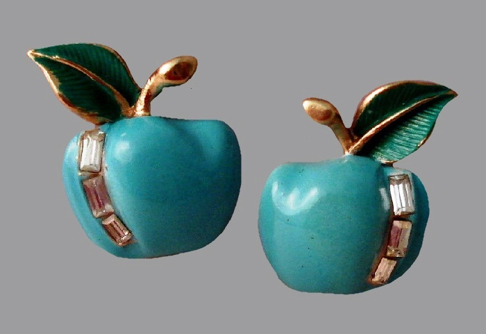 Turquoise enamel and crystal Apple aearrings