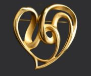 Twisted Heart pin. Gold plated metal, vintage