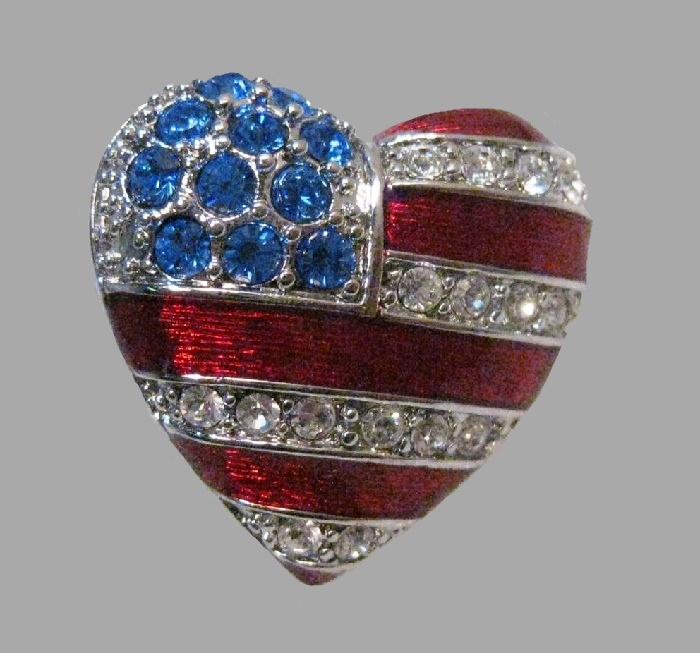USA Flag Heart Brooch. Rhinestones, enamel, jewelry alloy