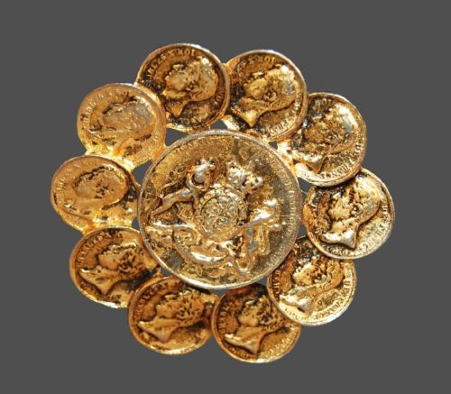 Unique gold tone metal Coin brooch