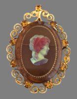Victorian style pendant. jewelry alloy, rhinestones, crystals, glass. 6 cm