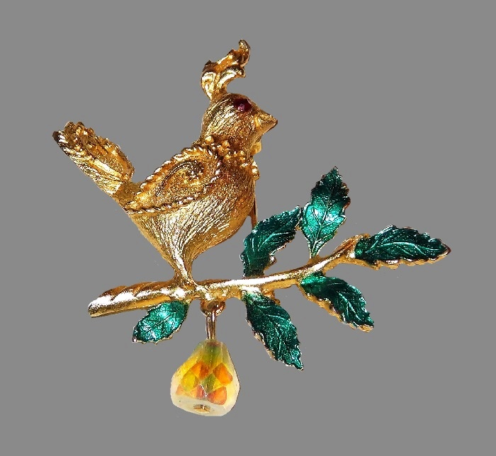 Vintage Christmas Holiday Enamel Partridge In A Pear Tree Crystal Brooch