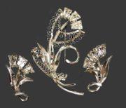 Vintage Sterling Silver Flower Brooch and Earrings Set