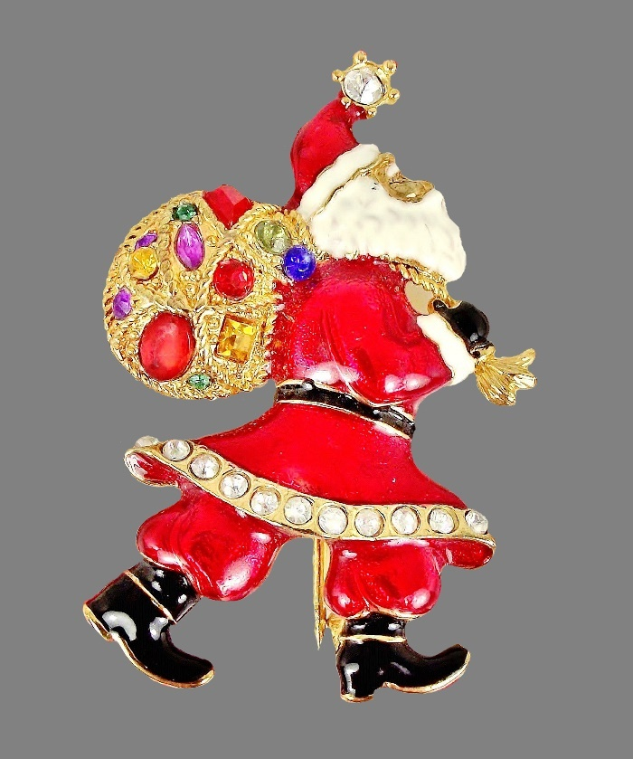 Walking with presents Santa brooch. Rhinestones, jewelry alloy, enamel