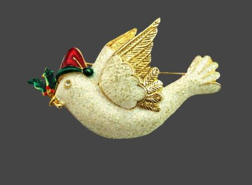 White Dove Christmas brooch. Enamel, jewelry alloy, rhinestones
