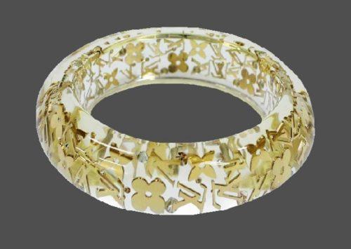 White resin bracelet, Monogram Inclusion, Swarovski crystals
