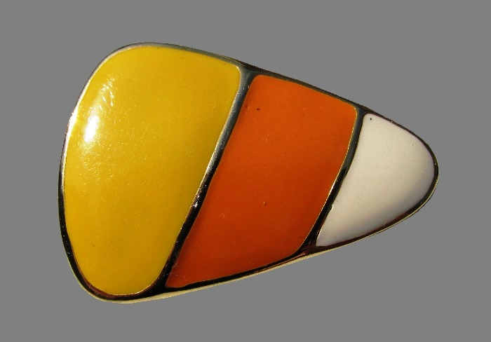 White, yellow and orange triangle shape brooch