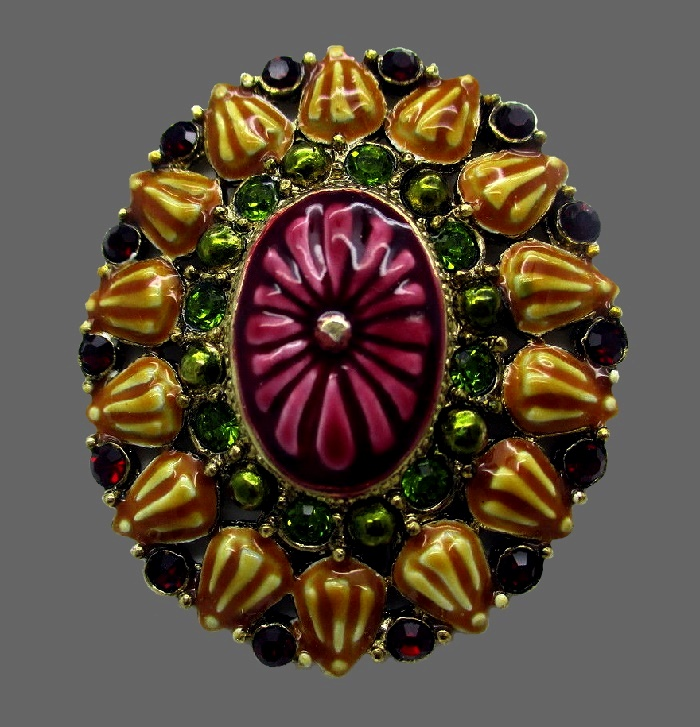 Wine red and green enameled flower brooch. Jewelry alloy, rhinestones