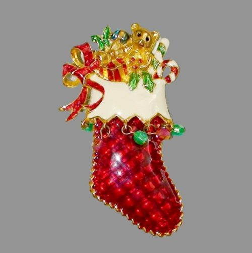 Xmas Stocking with presents, vintage brooch. Enamel, rhinestones, jewelry alloy