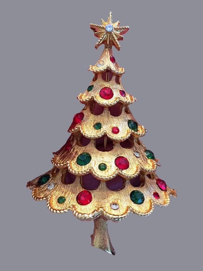 Xmas tree 3d vintage brooch. Red Green Clear Rhinestones