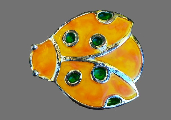 Yellow beetle bright enameled brooch, 3 cm