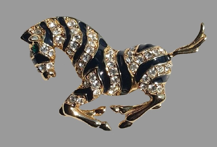 Zebra brooch. Jewelry alloy, black enamel, crystals