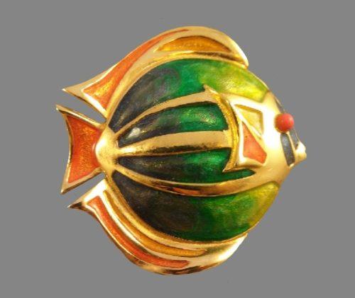 tropical fish brooch. jewelry alloy, enamel