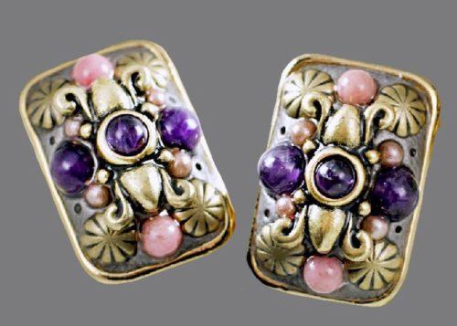 Amethyst and rhodonite Clip Earrings