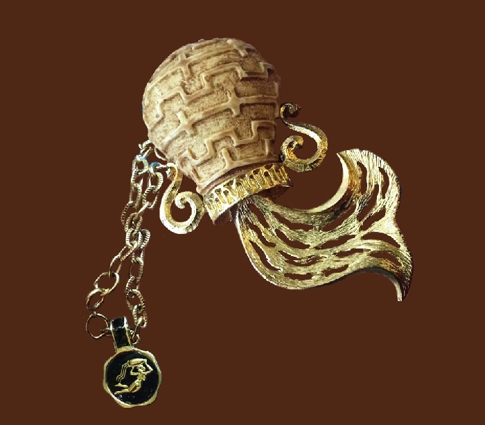 Aquarius pendant, from the series of Zodiac signs. Jewelry alloy of gold tone, plastic. 9.7 cm