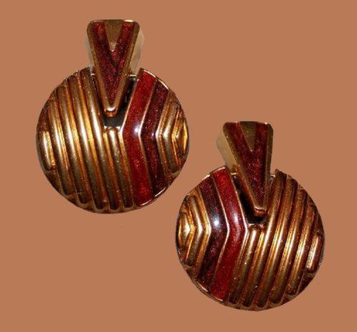 Art Deco earrings of gold tone metal, red and black enamel
