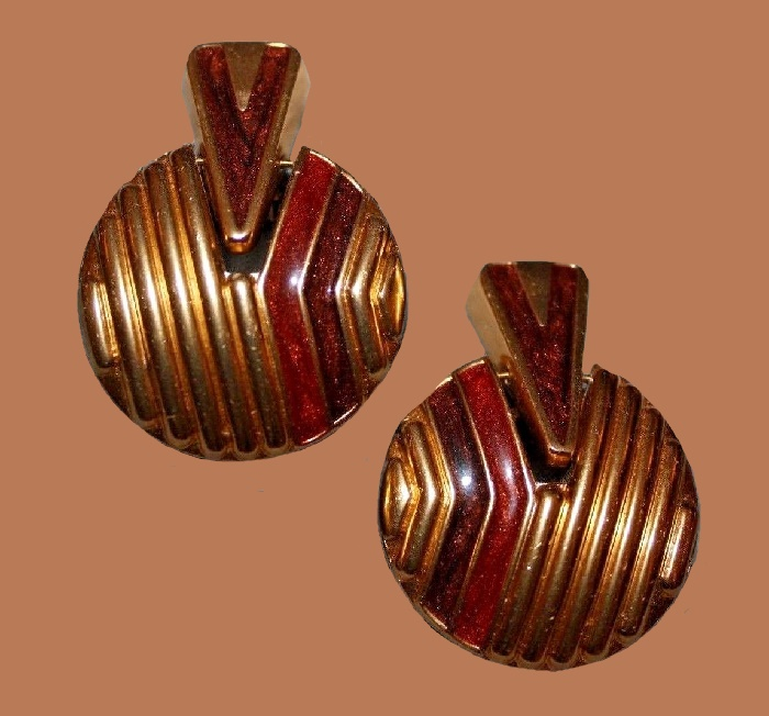 Art Deco earrings of gold tone metal, red and black enamel