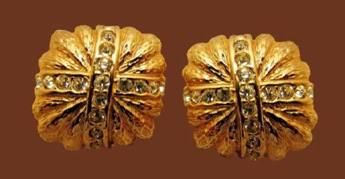 Art Deco earrings. Gold tone jewelry alloy, rhinestones