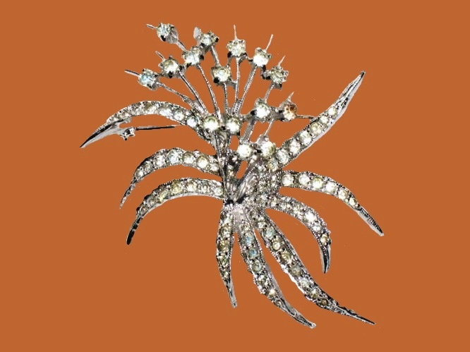 Art Deco flower bouquet brooch. Silver tone metal, crystals