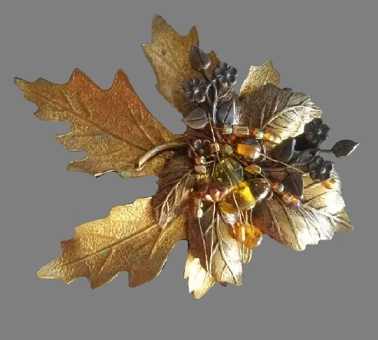Autumn still life leaf vintage brooch, ltd. Metal and beads