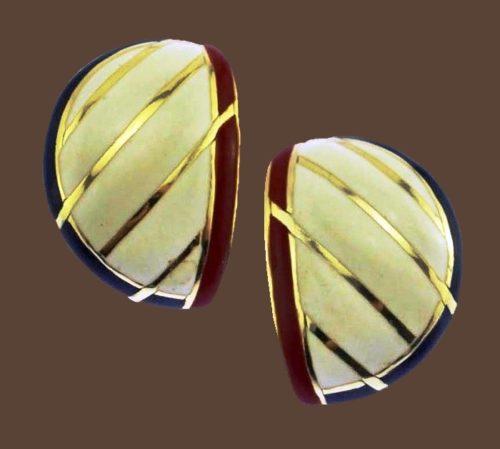 Beautiful enameled earrings, gold metal stripes, red, white enamel