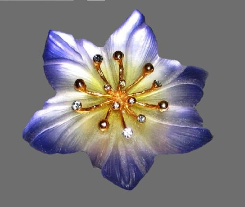 Beautiful purple flower brooch of lucite and crystals