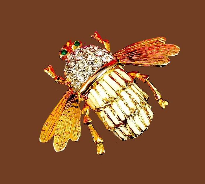 Bee figural brooch. Gold tone cream enamel finish