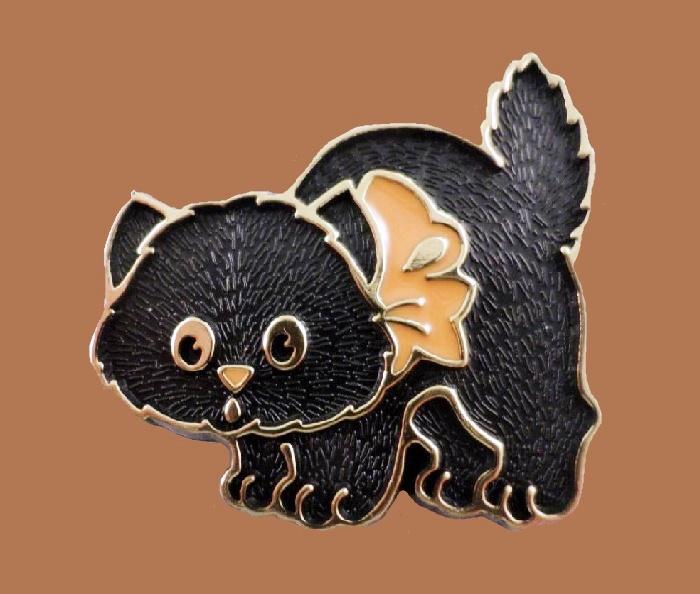 Black cat Halloween brooch