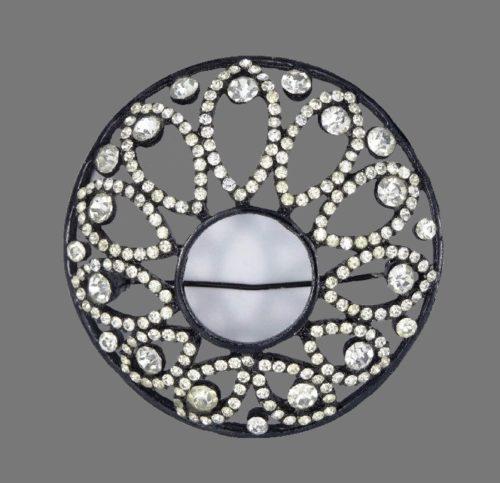 Black enamel, crystals round brooch