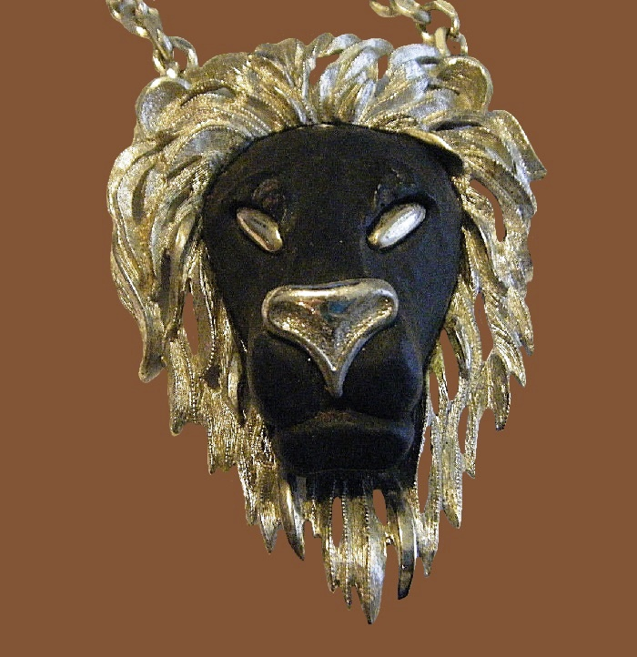 Black lion head necklace. Rezin, jewelry alloy, 1970s